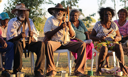 Thomas Monkey Yikapayi, Ronnie Wavehill Wirrpa and Topsy Dodd Ngarnjal sing Wajarra (Photo by Brenda L Croft)